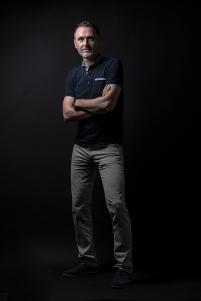 low key, men portrait, blue shirt
