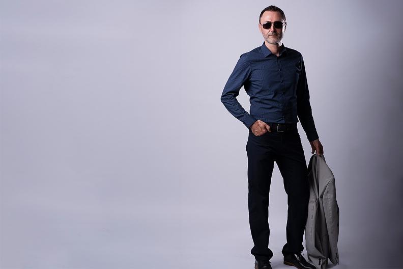 men portrait, blue shirt, business men, manager, sun glasses
