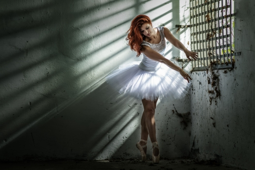 lost place, ballet dancer, red hair, low key