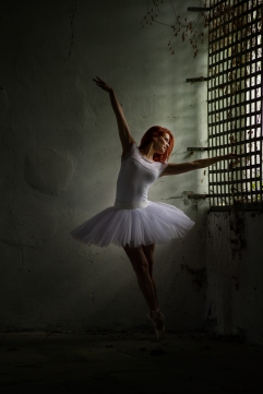 lost place, ballet dancer, girl, red hair, low key