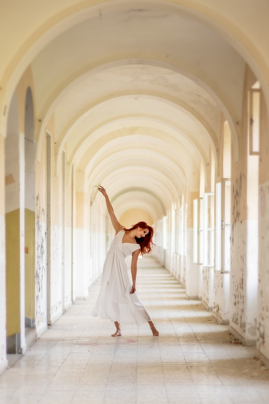 Lost place, lady in white dress, light, dance