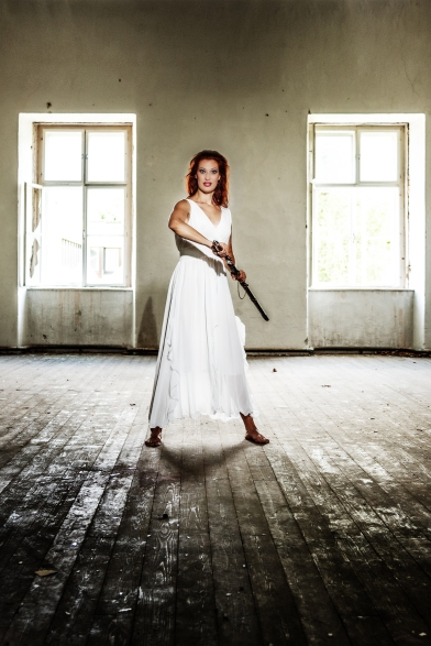 lost place, heroine, white dress, lady, sword