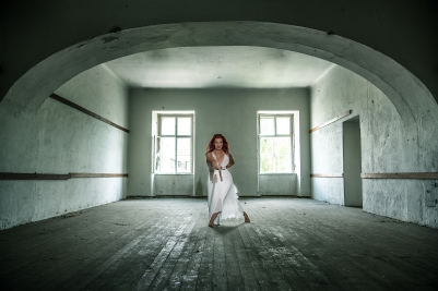 Lost place, lady in white dress, sword