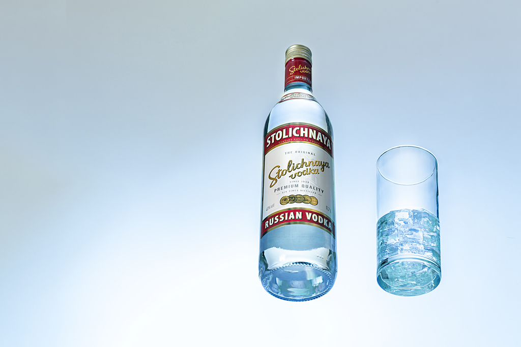 bottle vodka with glass