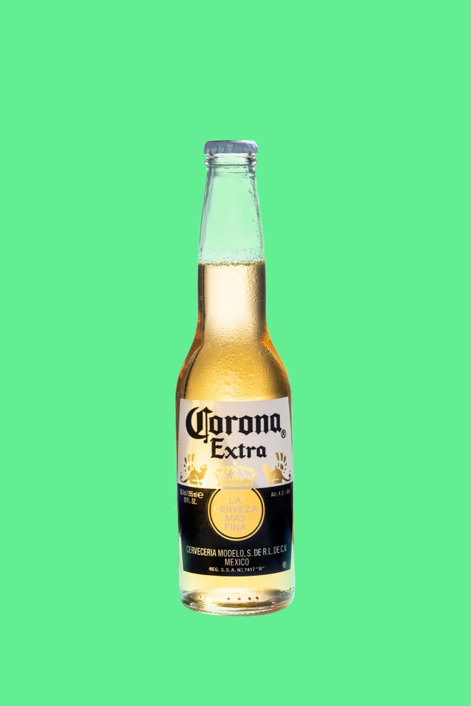 corona beer with green background