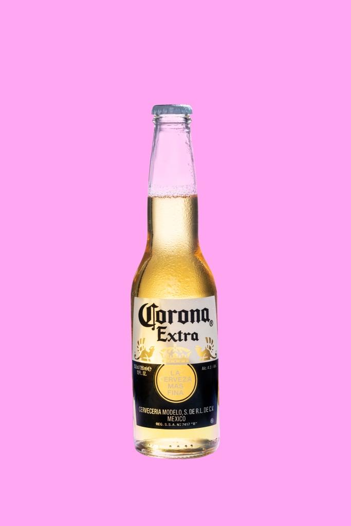 corona beer pink background