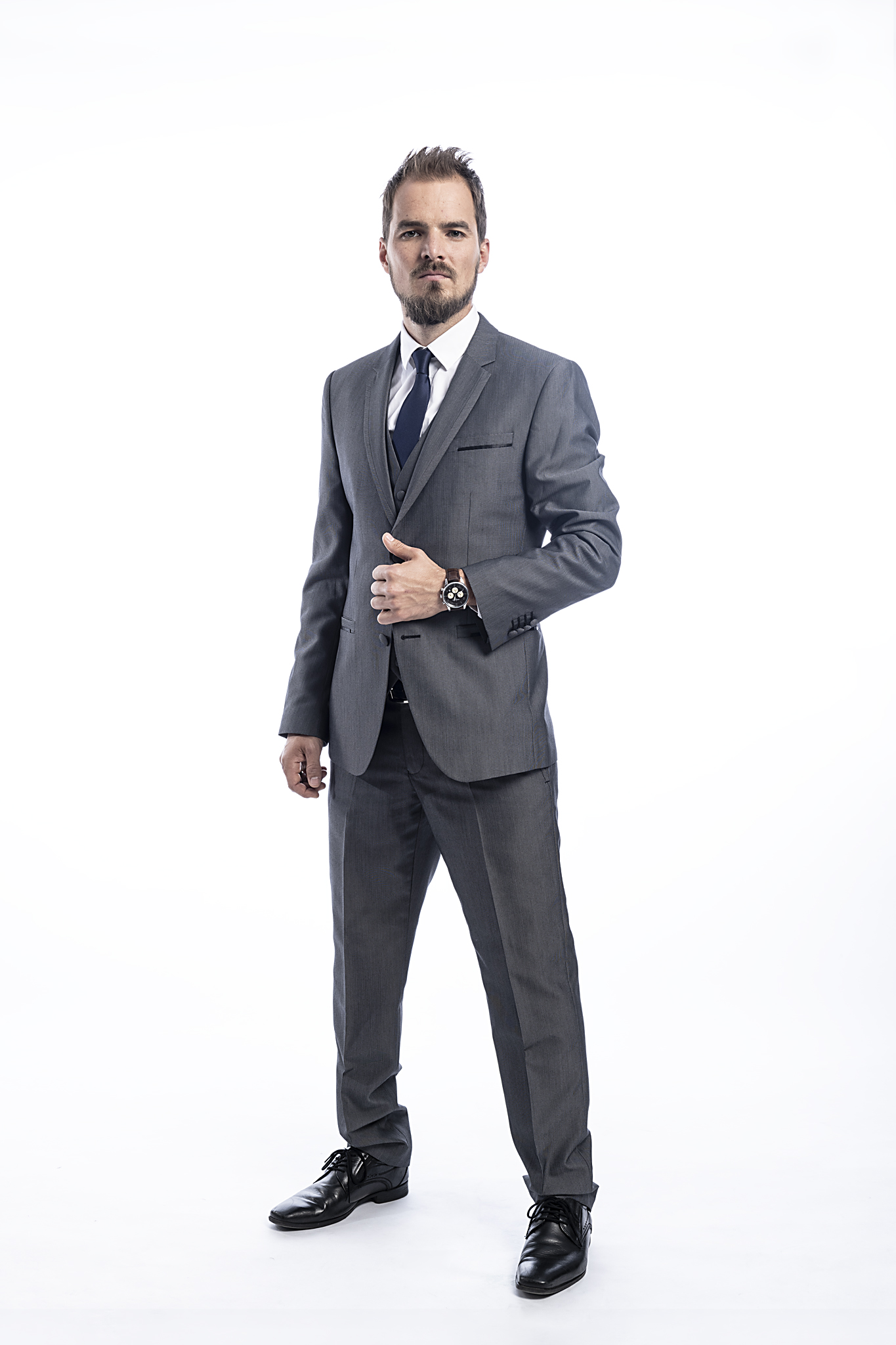 male model with grey suit