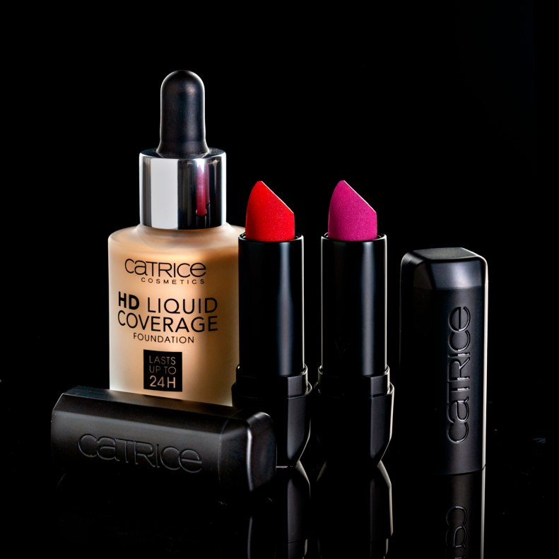cosmetics with black background